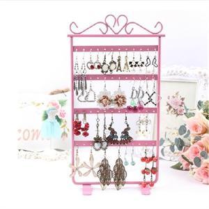 Stojan na šperky a náušnice kovový - ružový