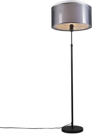 Stojatá lampa čierna s čierno-bielym tienidlom nastaviteľným na 47 cm - Parte