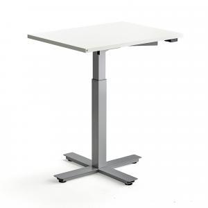 Stôl Modulus, centrálny podstavec, 800x600 mm, strieborný rám, biela