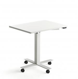 Stôl Modulus s kolieskami, centrálny podstavec, 800x600 mm, biely rám, biela
