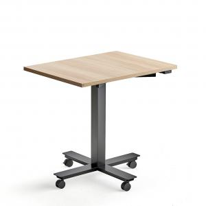 Stôl Modulus s kolieskami, centrálny podstavec, 800x600 mm, čierny rám, dub