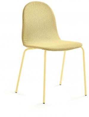 Stolička Gander, 4 nohy, čalúnená, horčicová