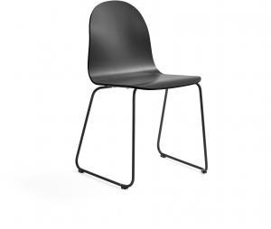 Stolička Gander, podnož s klzákmi, lakovaná, čierna