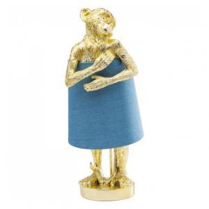 Stolná lampa Animal Monkey – zlatá, modrá