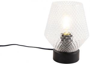 Stolná lampa v štýle Art Deco čierna - Karce