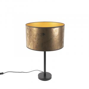 Stolná lampa v štýle Art Deco čierna so odtieňom zo starého bronzu 35 cm - Simplo