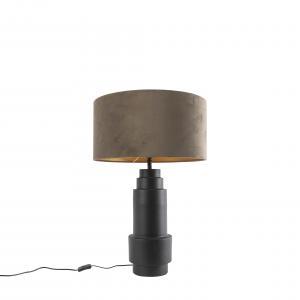 Stolová lampa v štýle art deco čierna so zamatovým tupým odtieňom 50 cm - Bruut