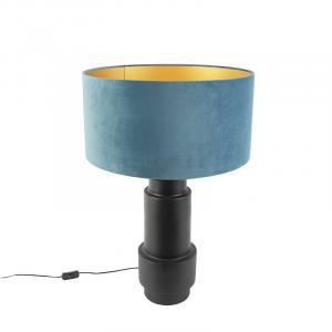 Stolová lampa v štýle art deco s velúrovým odtieňom modrej 50 cm - Bruut
