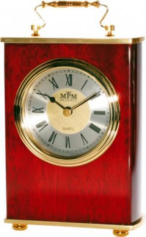 Stolové hodiny MPM, 2839.55, silver - gaštan, 18cm