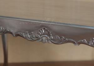 Stříbrný barokní jídelní stůl Silver Leaf 160cm