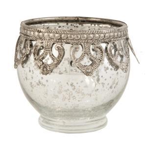 Strieborný sklenený svietnik na čajovú sviečku ∅ 10*9cm