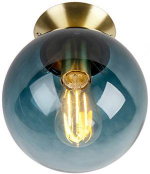 Stropná lampa v štýle art deco mosadz s oceánsky modrým sklom - Pallon