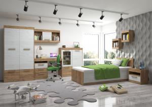 Študentská izba Maximus WIP 9 Farba: dub burgund/biela lesk