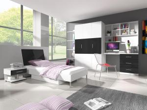 Študentská izba - Ruby III (biela + čierna) (s roštom a matracom). Akcia -31%