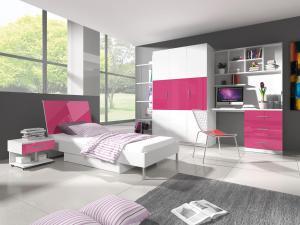 Študentská izba - Ruby III (biela + ružová) (s roštom a matracom). Akcia -31%