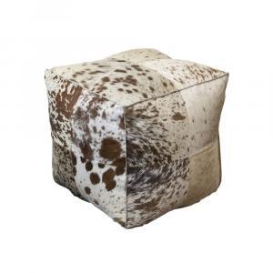 Štvorcový puf z kravskej kože hnedá / biela - 40 * 40 * 40 cm