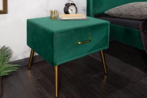 Štýlový nočný stolík Lena smaragdovozelený zamat