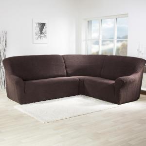 Super strečové poťahy GLAMOUR hnedá rohová sedačka (š. 350 - 530 cm)