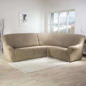 Super strečové poťahy GLAMOUR oriešková rohová sedačka (š. 350 - 530 cm)