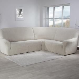 Super strečové poťahy GLAMOUR smotanová rohová sedačka (š. 350 - 530 cm)