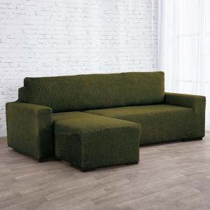 Super strečové poťahy NIAGARA zelená sedačka s otomanom vľavo (š. 210 - 320 cm)