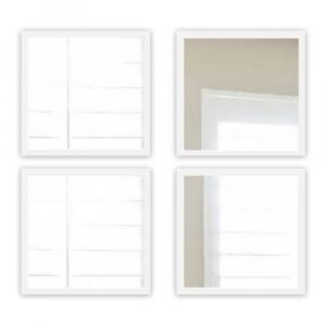 Súprava 4 nástenných zrkadiel s bielym rámom Oyo Concept Setayna,24x24cm