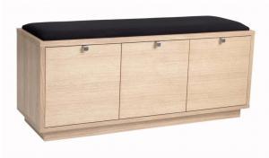 Svetlá lavica s úložným priestorom a s čiernym sedadlom Rowico Confetti, šírka 106 cm
