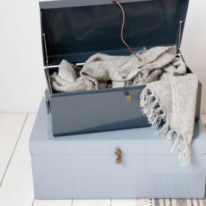 Svetlo a tmavomodrá úložná škatuľa Metal – sada 2 kusov