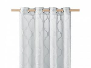 Svetlo sivá škandinávska záclona na kruhy 140 x 250 cm
