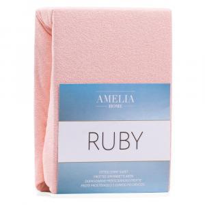 Svetloružová elastická plachta s vysokým podielom bavlny AmeliaHome Ruby, 200 x 160-180 cm
