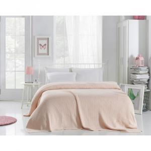 Svetloružová prikrývka cez posteľ Silvi, 220 x 240 cm