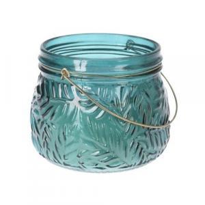 Sviečka v skle Lame tmavozelená, 11 x 9 cm