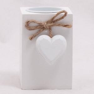 Svietnik drevený so srdcom, 9cm