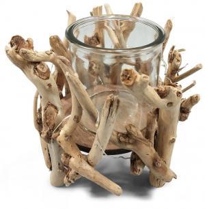 Svietnik z naplaveného dreva s LED svetielkami - 14 * 20 * 24cm