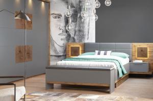 Szynaka Manželská posteľ Livorno 66 Farba: Sivá