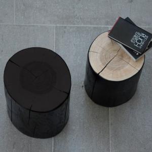 Taburet BLOCK | jadrový jaseň | kmeň 38 cm čierna