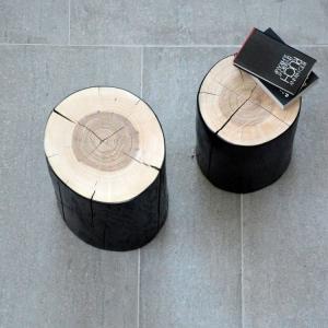 Taburet BLOCK | jadrový jaseň | kmeň 46 cm čierna