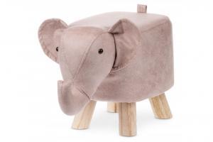 Taburet minizoo koža / drevo / MDF Autronic Slon ružový