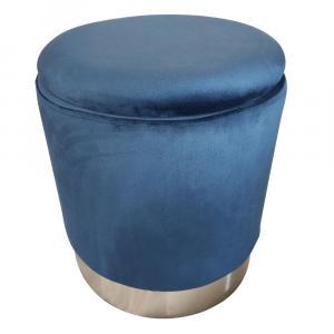 Taburet s úložným priestorom, modrá Velvet látka/strieborná chróm, DARON