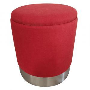 Taburet s úložným priestorom, oxy fire červená/strieborná chróm, DARON