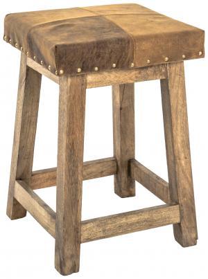 TABURETKA, drevo, koža, 33/50/33 cm - hnedá, prírodné farby, svetlohnedá