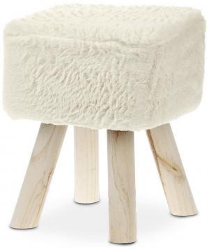 TABURETKA, drevo, textil, 29/35 cm - krémová