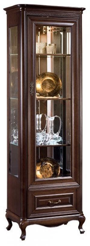 TARANKO Verona V-W1/2 P rustikálna vitrína s osvetlením hnedá