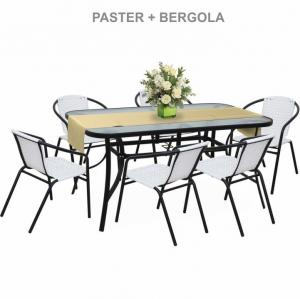 TEMPO KONDELA Bergola záhradná stolička biela / čierna