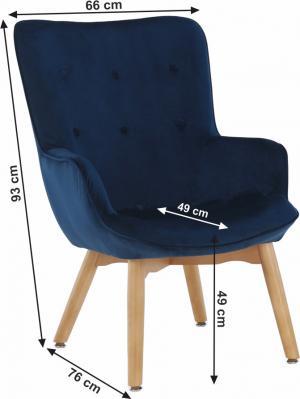 TEMPO KONDELA Dizajnové kreslo, modrá Velvet látka, FODIL