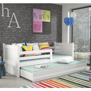 Drevená posteľ s prístelkou, biela, KORI 2