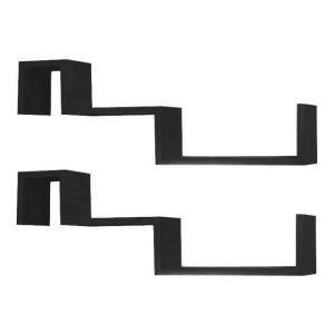 TEMPO KONDELA Fri New poličky (2 ks) čierna