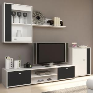 TEMPO KONDELA Genta obývacia stena biela / čierna