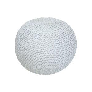 TEMPO KONDELA Gobi Typ 1 pletená taburetka smotanová / biela melírovaná