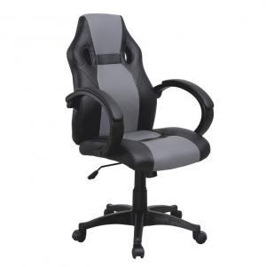 Kancelárske kreslo, ekokoža čierna/sivá, LESTER